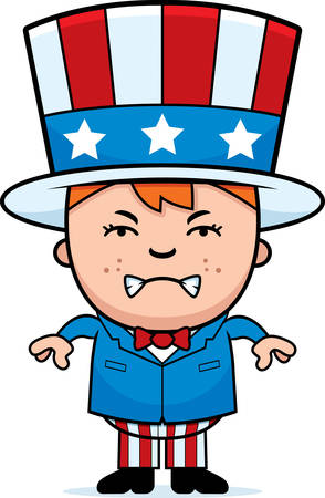 A cartoon illustration of a patriotic boy looking angry.