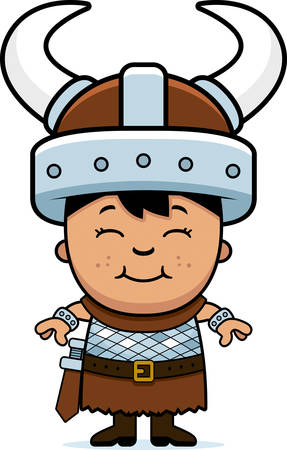 hispanic boys: A cartoon illustration of a boy barbarian standing and smiling. Illustration