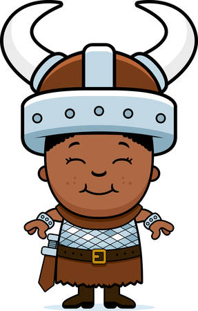 barbarian: A cartoon illustration of a boy barbarian standing and smiling. Illustration