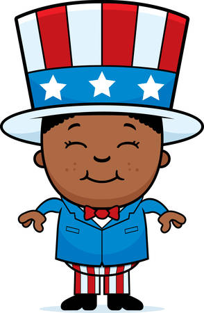A cartoon illustration of a patriotic boy standing and smiling.