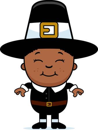 pilgrim: A cartoon illustration of a boy pilgrim standing and smiling.