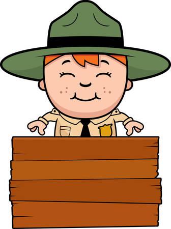 ranger: Un fumetto illustrazione di un ranger ragazzo parco con un segno. Vettoriali