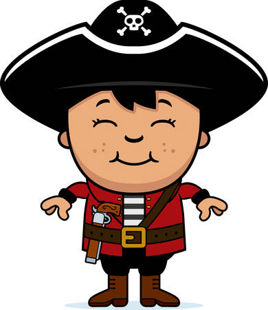 hispanics: A cartoon illustration of a pirate child standing and smiling.