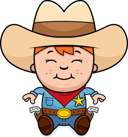 western cartoon: A cartoon illustration of a little cowboy sitting and smiling.