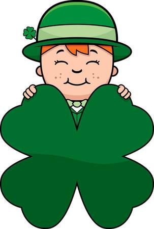 cartoon shamrock: A cartoon illustration of a boy leprechaun with a shamrock.