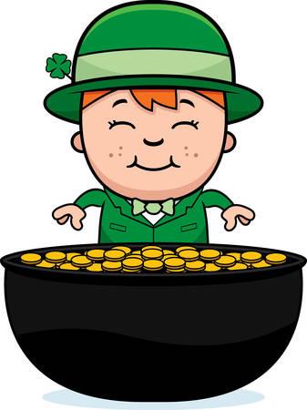 leprechaun: A cartoon illustration of a boy leprechaun with a pot of gold. Illustration