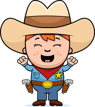 A cartoon illustration of a little cowboy excited and smiling.