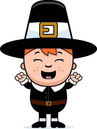 pilgrim: A cartoon illustration of a boy pilgrim looking excited.