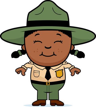ranger: A cartoon illustration of a girl park ranger standing and smiling.