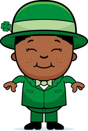 A cartoon illustration of a boy leprechaun standing and smiling.