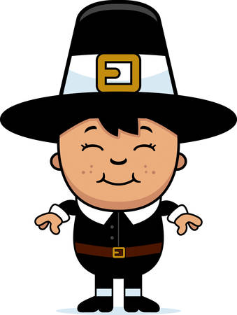 hispanics: A cartoon illustration of a boy pilgrim standing and smiling.