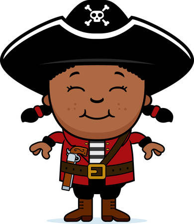 pirate girl: A cartoon illustration of a pirate girl standing and smiling.