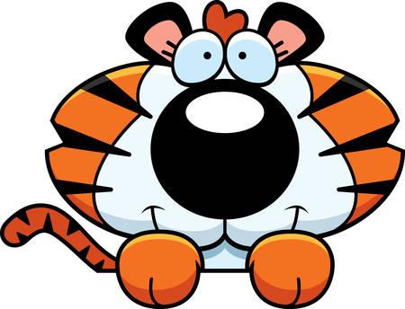 tigre cachorro: Un ejemplo de la historieta de un cachorro de tigre mira a escondidas sobre un objeto. Vectores