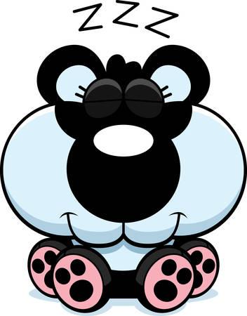 panda cub: Un ejemplo de la historieta de un cachorro de panda tomar una siesta.