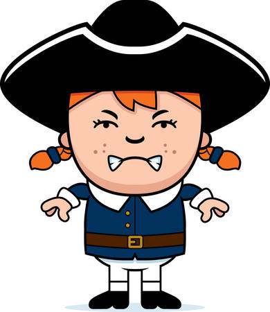 settler: A cartoon illustration of a colonial girl with an angry expression. Illustration