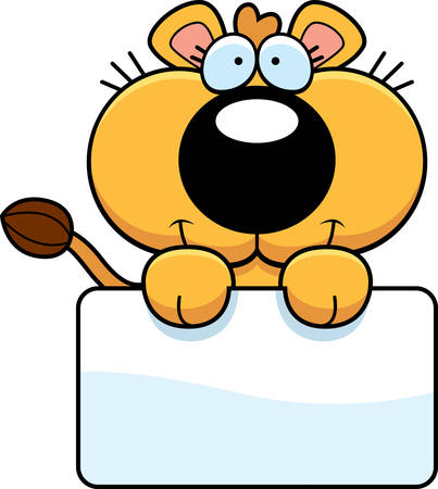 lioness: A cartoon illustration of a lioness cub with a white sign. Illustration