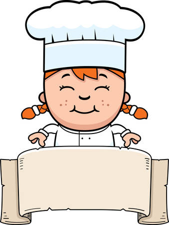 A cartoon illustration of a girl chef with a banner. Ilustracja