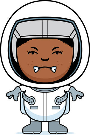 angry teenager: A cartoon illustration of a boy astronaut looking angry. Illustration