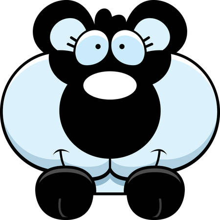 A cartoon illustration of a panda cub peeking over an object. Stok Fotoğraf - 42603299