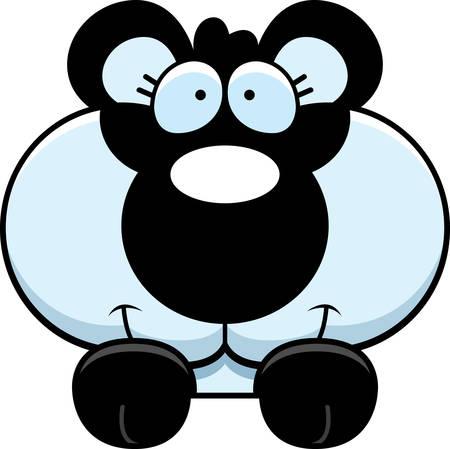 peering: A cartoon illustration of a panda cub peeking over an object.