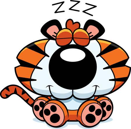 tigre cachorro: Un ejemplo de la historieta de un cachorro de tigre de tomar una siesta.
