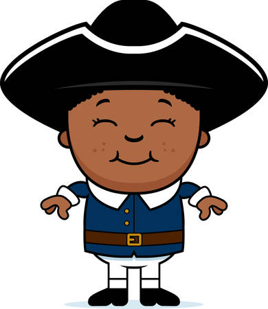 colonial: A cartoon illustration of a colonial child standing and smiling. Illustration