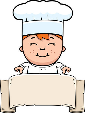 A cartoon illustration of a boy chef with a banner. Zdjęcie Seryjne - 42603302