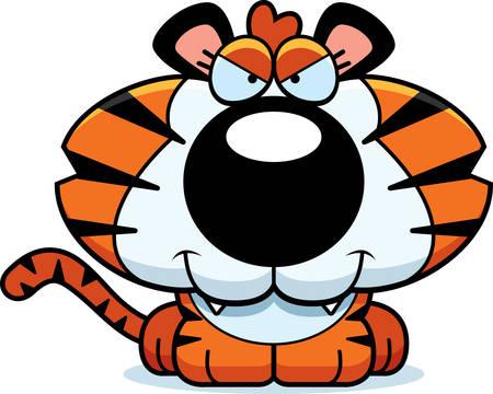 tigre cachorro: Un ejemplo de la historieta de un cachorro de tigre con una expresión astuta.