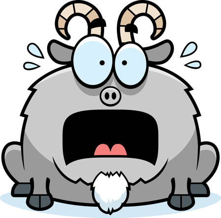 billy: A cartoon illustration of a little goat looking terrified. Illustration