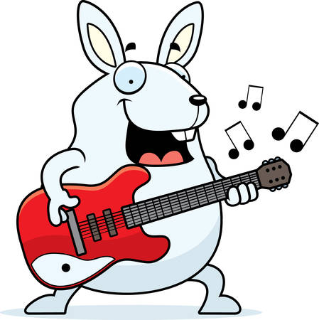 jackrabbit: A cartoon illustration of a rabbit playing an electric guitar.