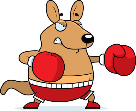 wallaby: A cartoon illustration of a wallaby punching with boxing gloves.