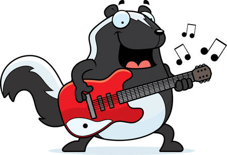 solitary: A cartoon illustration of a skunk playing an electric guitar.
