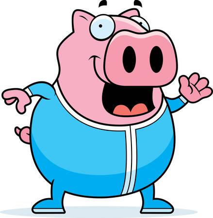 pjs: A cartoon illustration of a pig in pajamas.