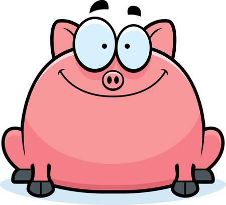 smirking: A cartoon illustration of a little pig smiling.