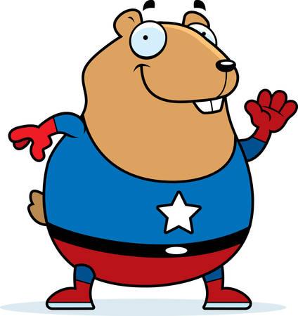 A cartoon illustration of a hamster in a superhero costume. Illustration