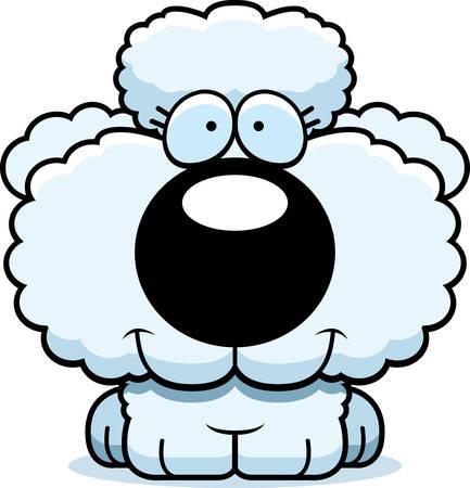 プードル子犬幸せと笑顔の漫画イラスト。