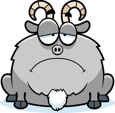 scowl: A cartoon illustration of a little goat looking sad. Illustration