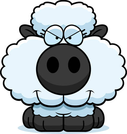 devious: A cartoon illustration of a lamb with a sly expression.