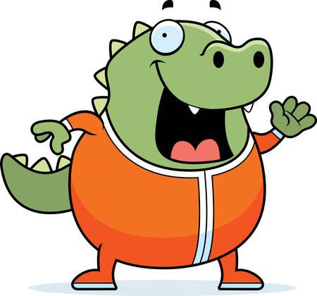 A cartoon illustration of a lizard in pajamas.  イラスト・ベクター素材