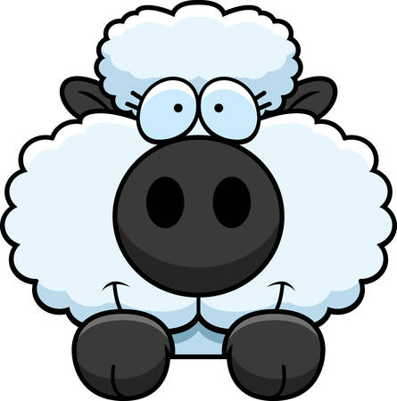 peering: A cartoon illustration of a lamb peeking over an object.