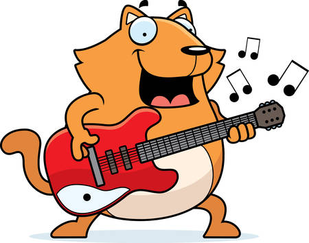 A cartoon illustration of a cat playing an electric guitar.