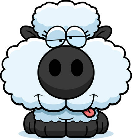 goofy: A cartoon illustration of a lamb with a goofy expression.