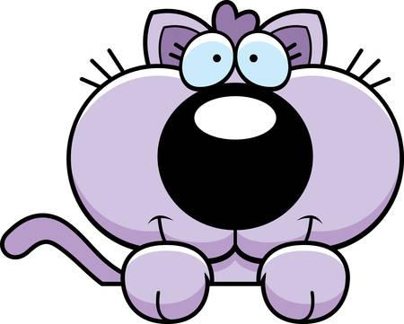 개체를 통해 엿보기 새끼 고양이의 만화 그림. 일러스트