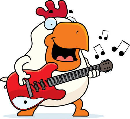 A cartoon illustration of a rooster playing an electric guitar.