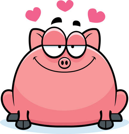 enamored: A cartoon illustration of a little pig in love.