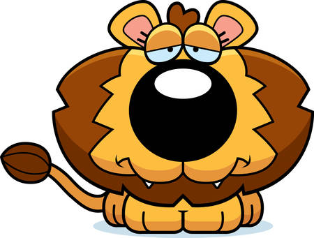 cub: A cartoon illustration of a lion cub with a sad expression.