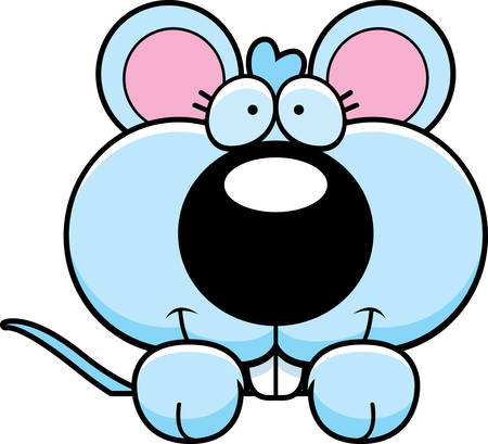 A cartoon illustration of a baby mouse peeking over an object.