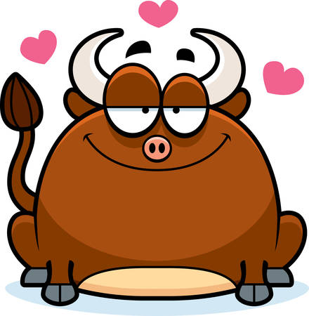 infatuated: A cartoon illustration of a little bull in love. Illustration