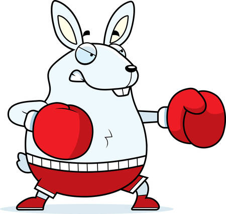 punched: A cartoon illustration of a rabbit punching with boxing gloves.