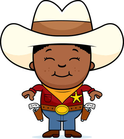 cowboy cartoon: A cartoon illustration of a young cowboy standing and smiling. Illustration